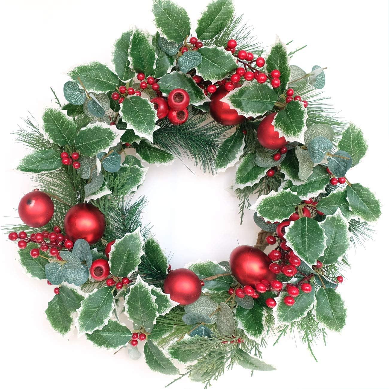 Bibelot Artificial Christmas Wreath with Red Berries Pine Cones Red Balls Decorations Winter Wreath for Front Door Wall Home Decor (20in)