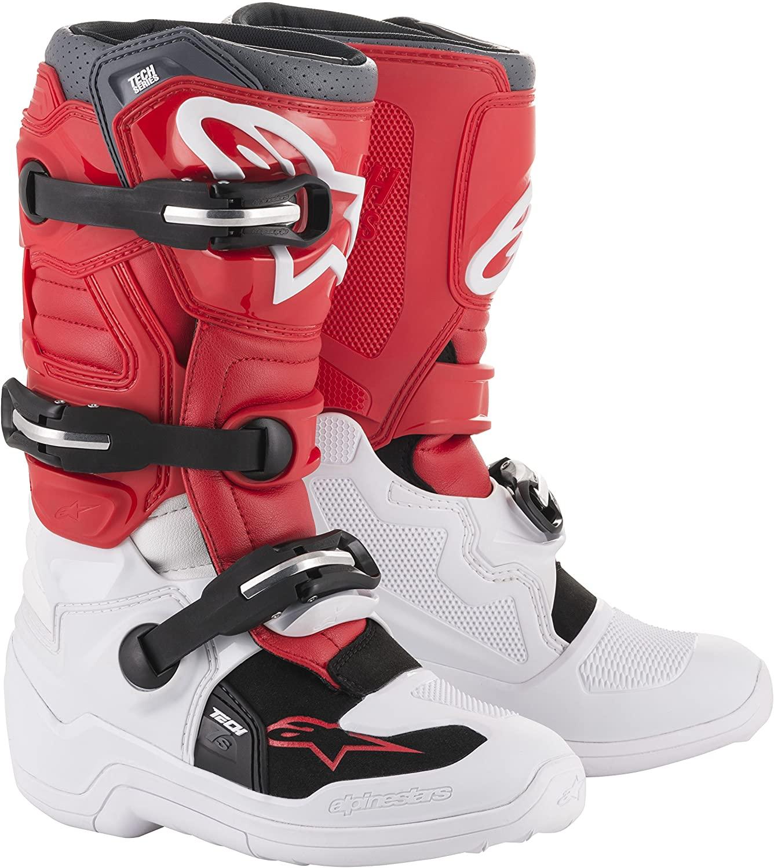 Alpinestars Youth Tech 7S Motocross Boot, White/Red/Gray, 7