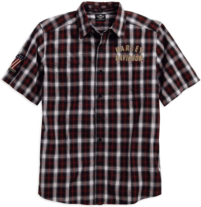 Harley-Davidson Men's Genuine Classics #1 Plaid Short Sleeve Shirt (Plaid, Medium)