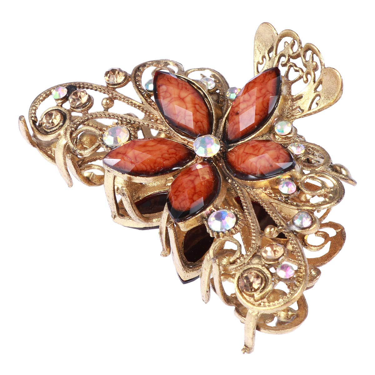 Frcolor Elegant Large Hair Claw Womens Vintage Clamp Clip Floral Hair Jaw Clip (Brown)