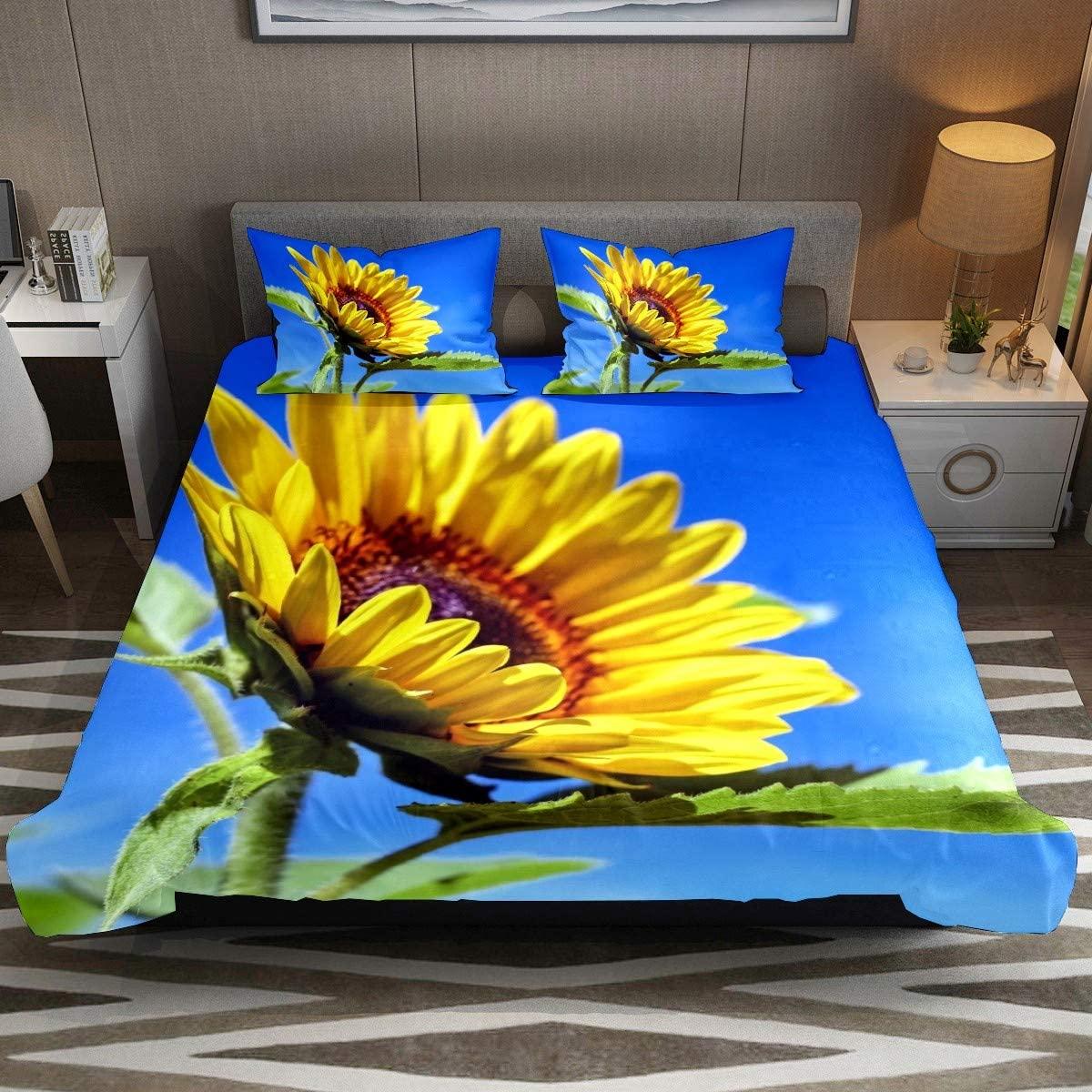 3 Pcs Yellow Sunflower Floral Green Leaves Duvet Cover Set Modern Customize 79 x 90 Breathable Bedding Sets (Full Size) Home Decor for Kids Children Teens Boys Girls