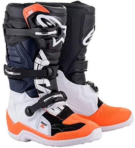 Alpinestars Youth Tech 7S Motocross Boot, Black/White/Orange, 8