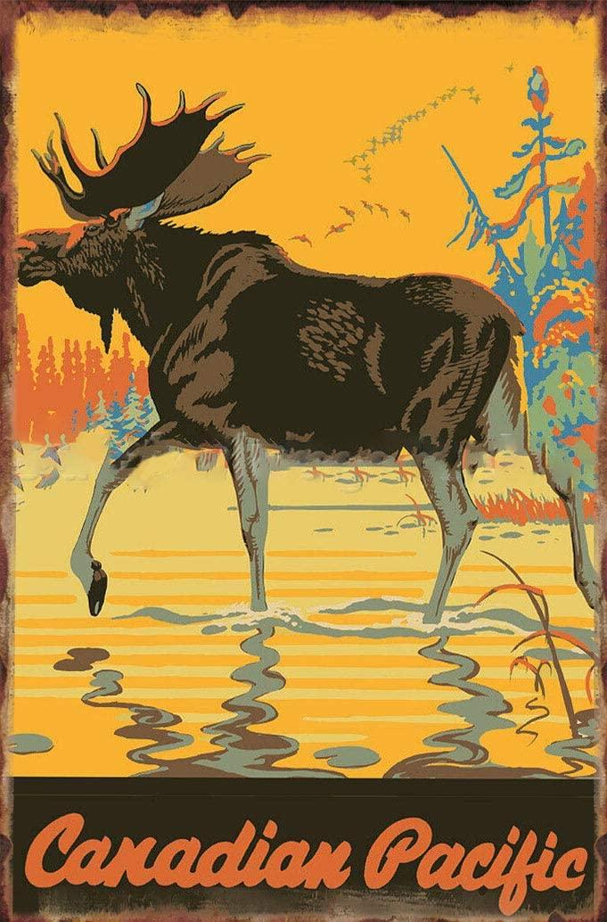 Bull Moose - Canadian Pacific 1930 Metal Tin Sign Men Women,Wall Decor for Bars,Restaurants,Cafes Pubs elk Metal Sign School Season 8x12 inch