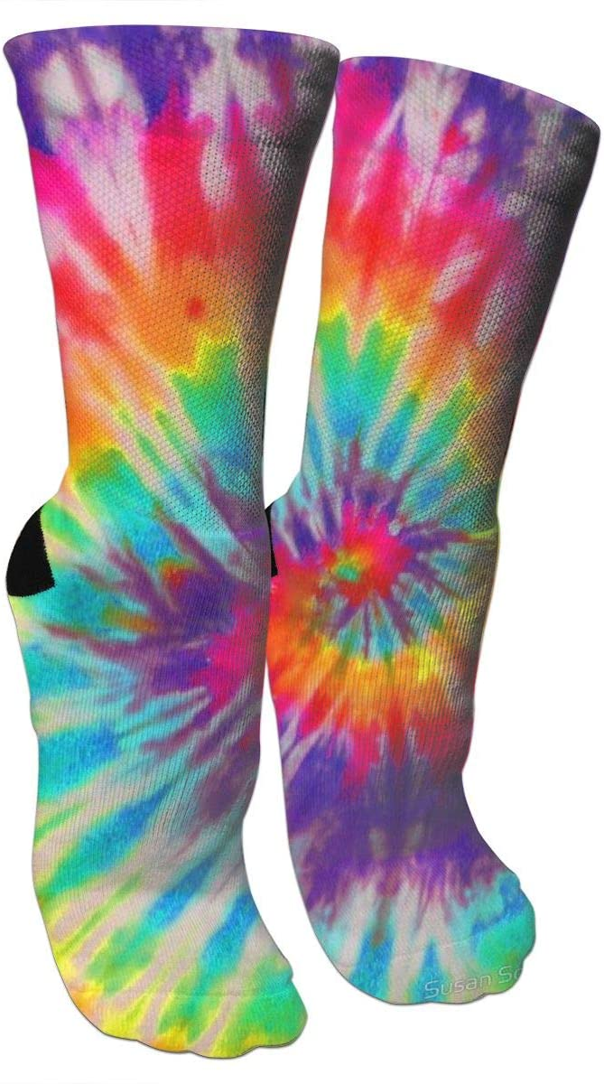 antspuent Tie Dye 6 Compression Socks Unisex Fun Novelty Crazy Dress Crew Socks