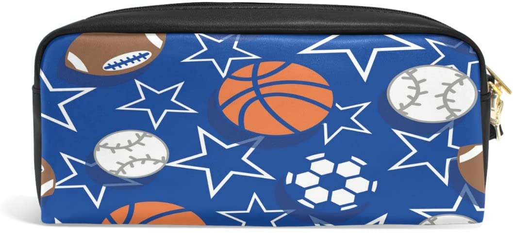 ALAZA Cartoon Soccer American Basketball Star Football PU Leather Pen Pencil Case Pouch Case Makeup Cosmetic Travel School Bag