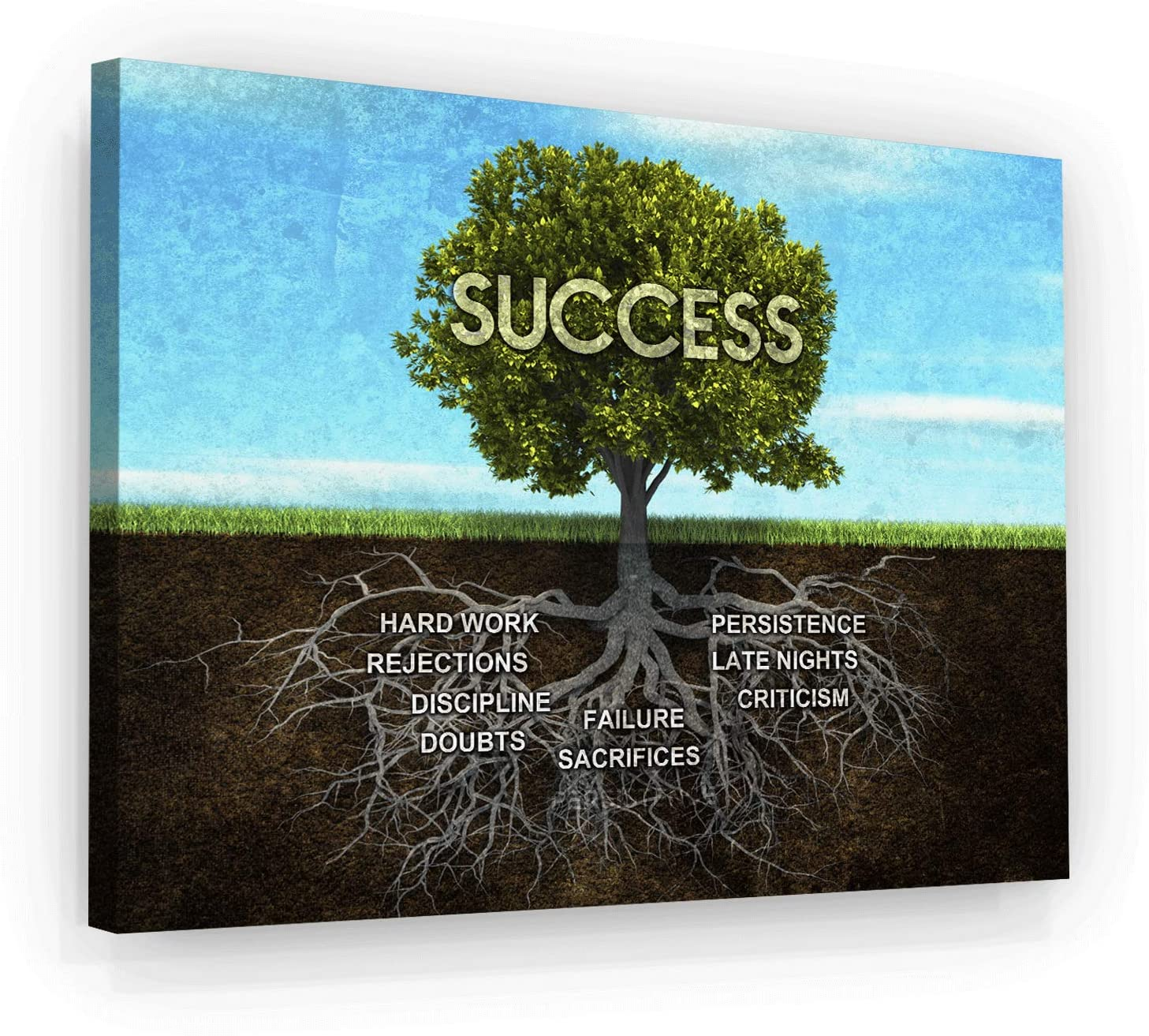 Success Tree Motivational Wall Art Canvas Print, Office Decor, Inspiring Framed Prints, Inspirational Entrepreneur Quotes for Wall Art Decoration (18
