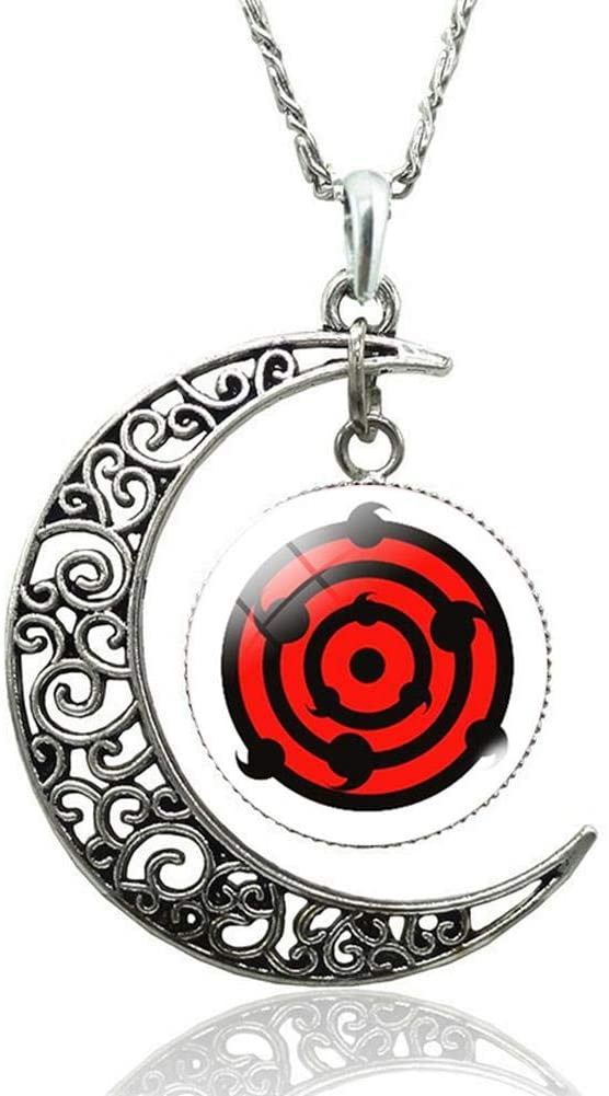Coz' Place Cosplay Anime Starry Sky Naruto Moon-Shaped Sharingan Pendant Necklace (Rinnegan)
