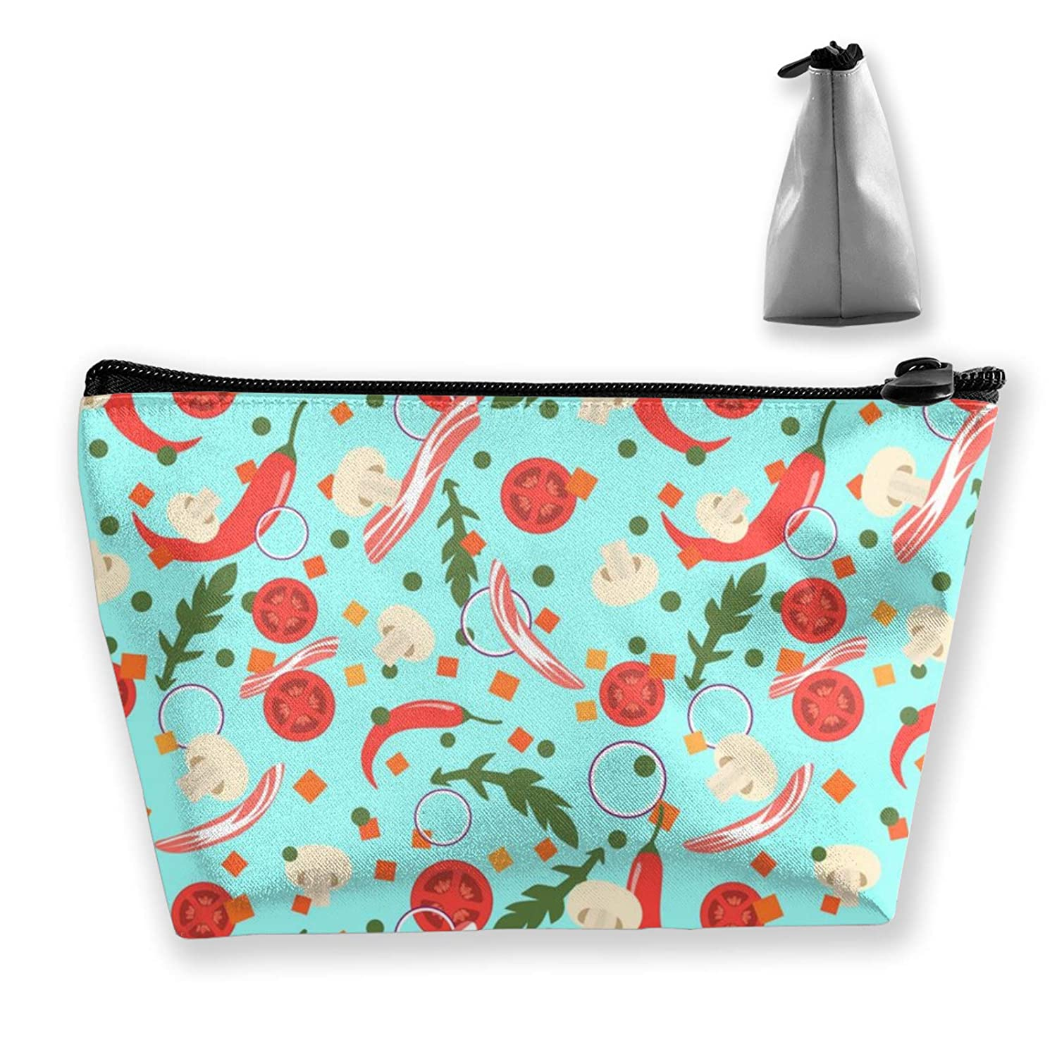 Lazy Makeup Case Vegetables Vegan Food Fruit Floral (16) Tote Bag Travel Makeup Train Case Holder Large Capacity Carry On Bag Luggage Pouch Makeup Pouch] For Women