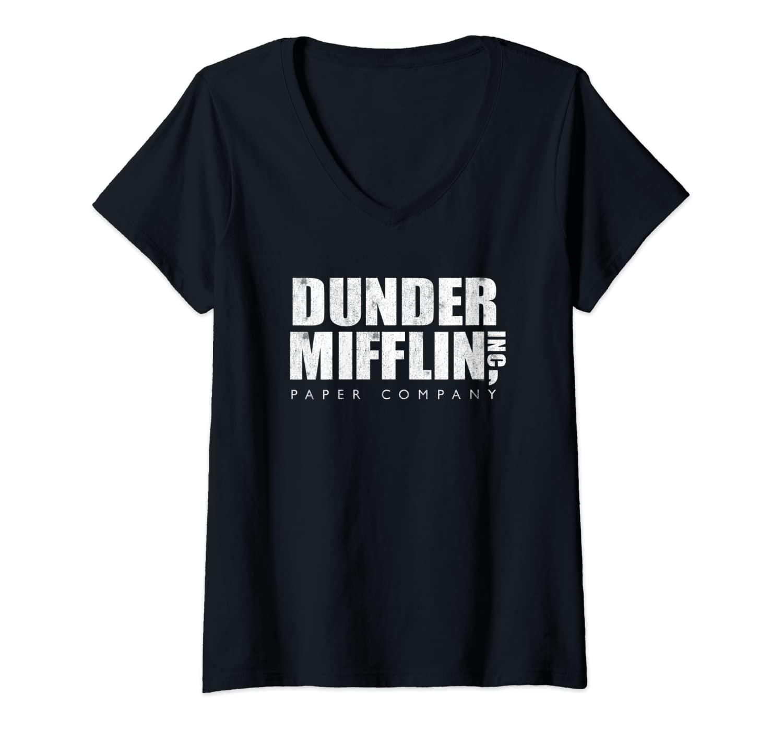 Womens The Office Dunder Mifflin Vintage V-Neck T-Shirt