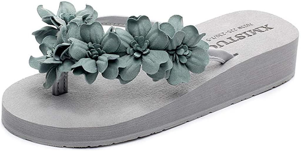 MIOKE Boho Flower Flip Flops for Womens Low Wedge Platform Comfort Anti-Slip Summer Beach Thong Sandals