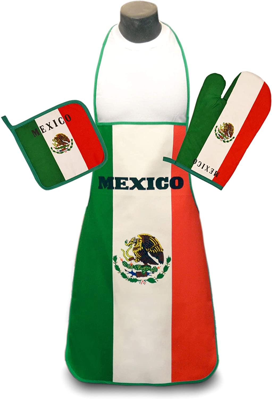 Mexico Flag Kitchen & BBQ Set w/Apron, Oven-mitt & Pot-holder Mexican