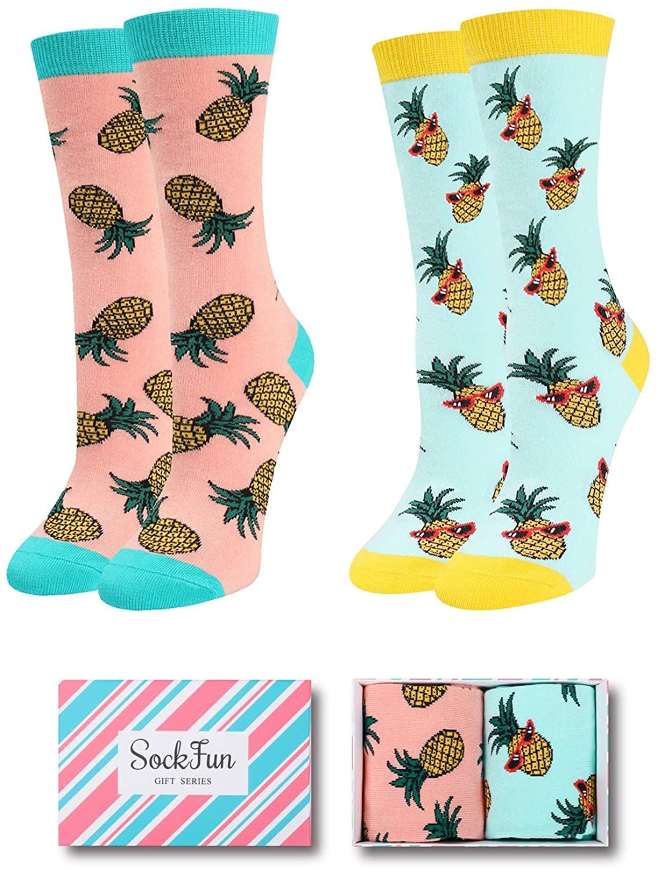 Funny Pineapple Unicorn Narwhal Llama Sloth Chicken Bee Cat Flower Socks for Women Girl