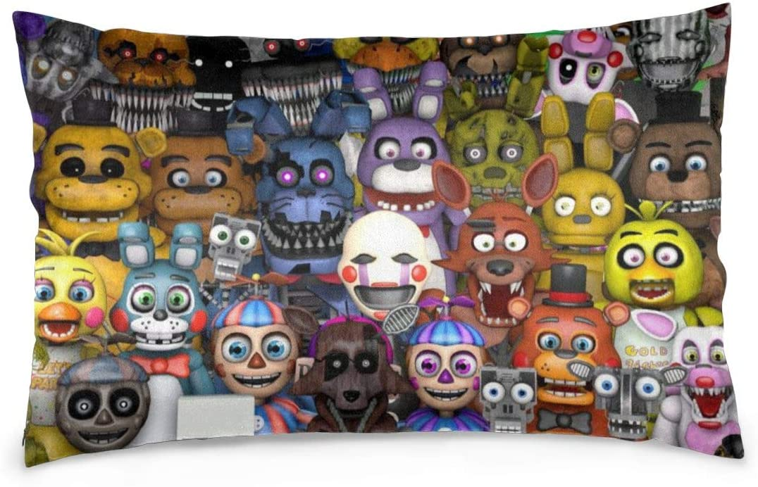 Custom Five Nights at Freddy's Throw Pillow Cases Decorative Pillowslip for Couch, Sofa,Bed, 3D Print FNAF Pillow Soft Cushion Cover A Great Gift for Halloween Decoration for Living Room Size 20