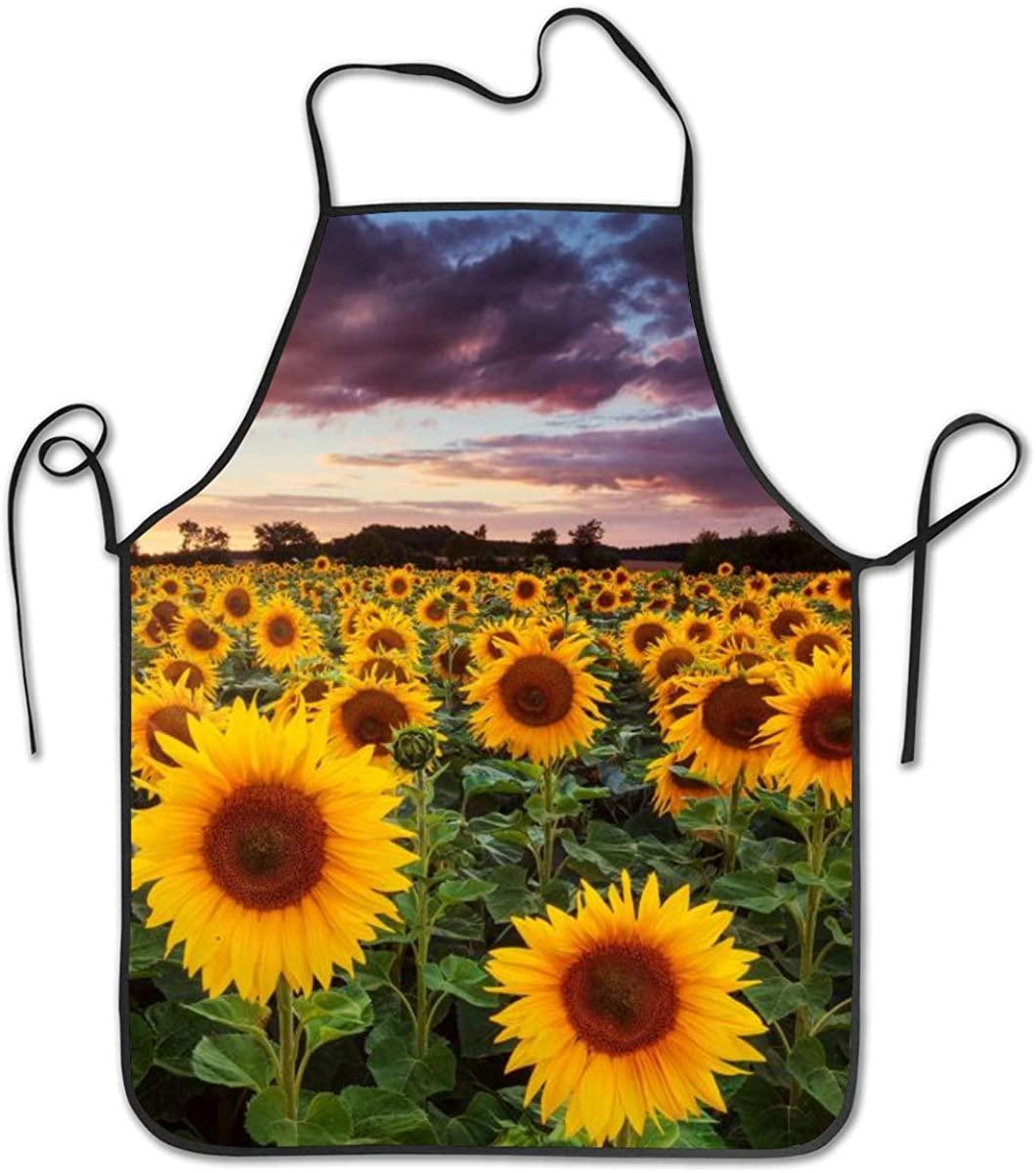 Darkt Sunflowers Kitchen Apron Waist Adjustable Men And Women 20.4X28.3 In