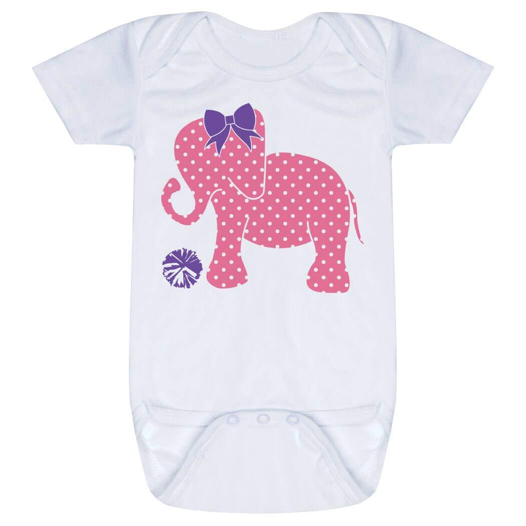 ChalkTalkSPORTS Cheerleading Baby & Infant Onesie | Cheerleading Elephant and Bow | One Piece MD White