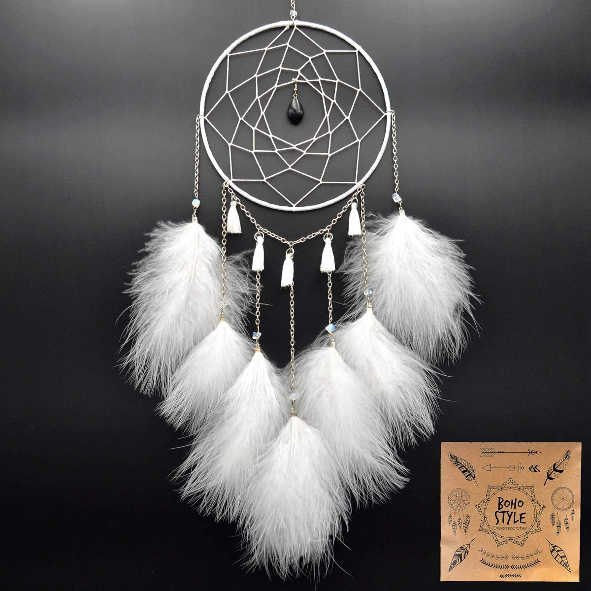 Urdeoms Dream Catcher White Wall Hanging Decoration with Obsidian Pendant Dream Catchers for Bedroom Dia 6(NO.027)