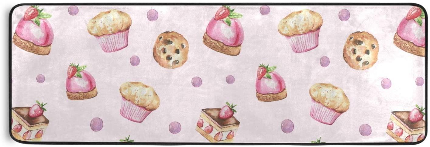 Area Rug Runner Cupcake Strawberry Non Slip Soft Doormats Carpet for Hallway Bathroom Kitchen Laundry Bedroom 72 x 24 Inch