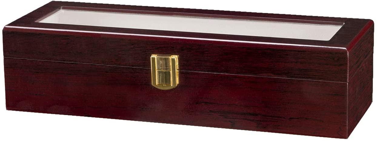 IHADA 6 Slots Wooden Case Watch Display Case Glass Top Jewelry Storage Organizer Gifts Modern Watch Box, Watch Case Organizer for Storage and Display
