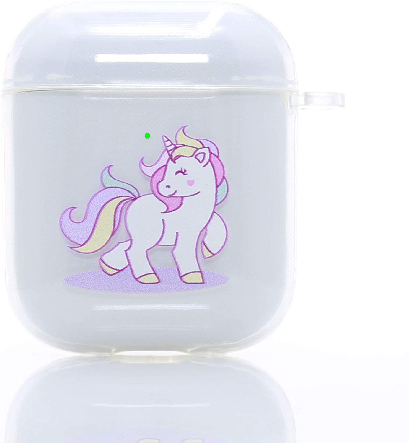 Clear AirPods Case,TPU AirPod 1&2 Case Cover for Apple AirPods Charging Case, Cute Pink Unicorn AirPods Soft Protective Case for Girls Teenages