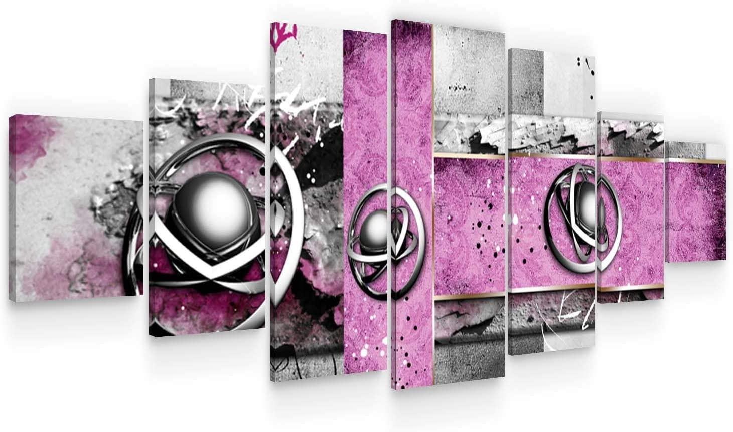 Startonight Large Canvas Wall Art - Abstract Decoration Purple Spirals - Huge Framed Modern Set of 7 Panels 40