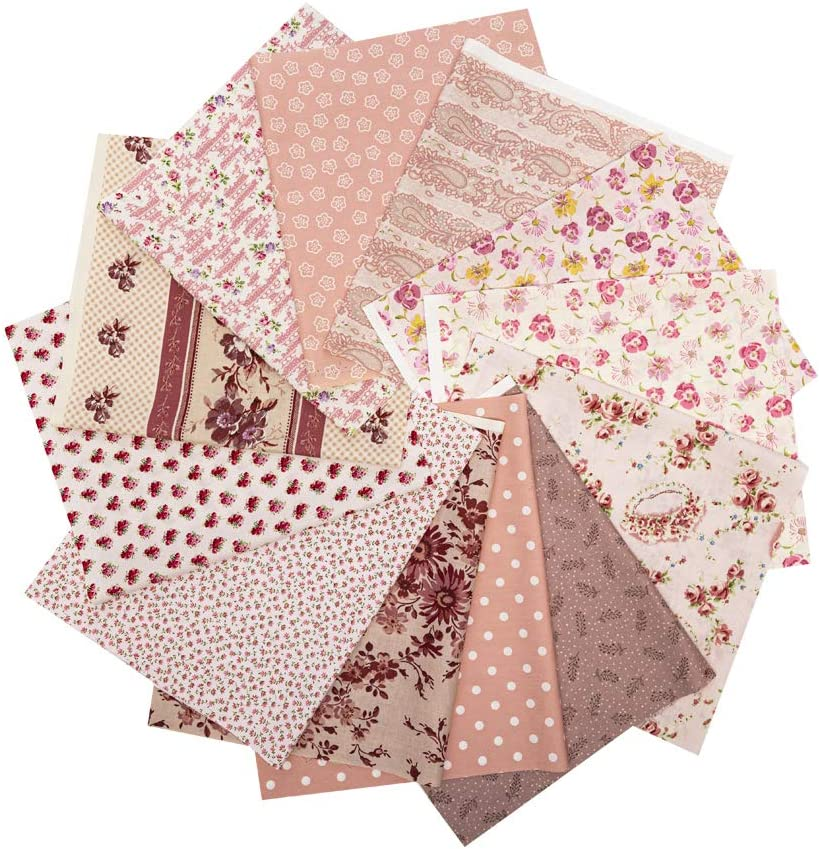 12 PCS 17.5 x 10.5 inches (44 x 25 cm) 100% Cotton Craft Fabric Bundle for Patchwork 12 Different Pattern Pre-Cut Quilting Fabric Fat Eighths Square for DIY Craft Sewing (Flower Print Series)