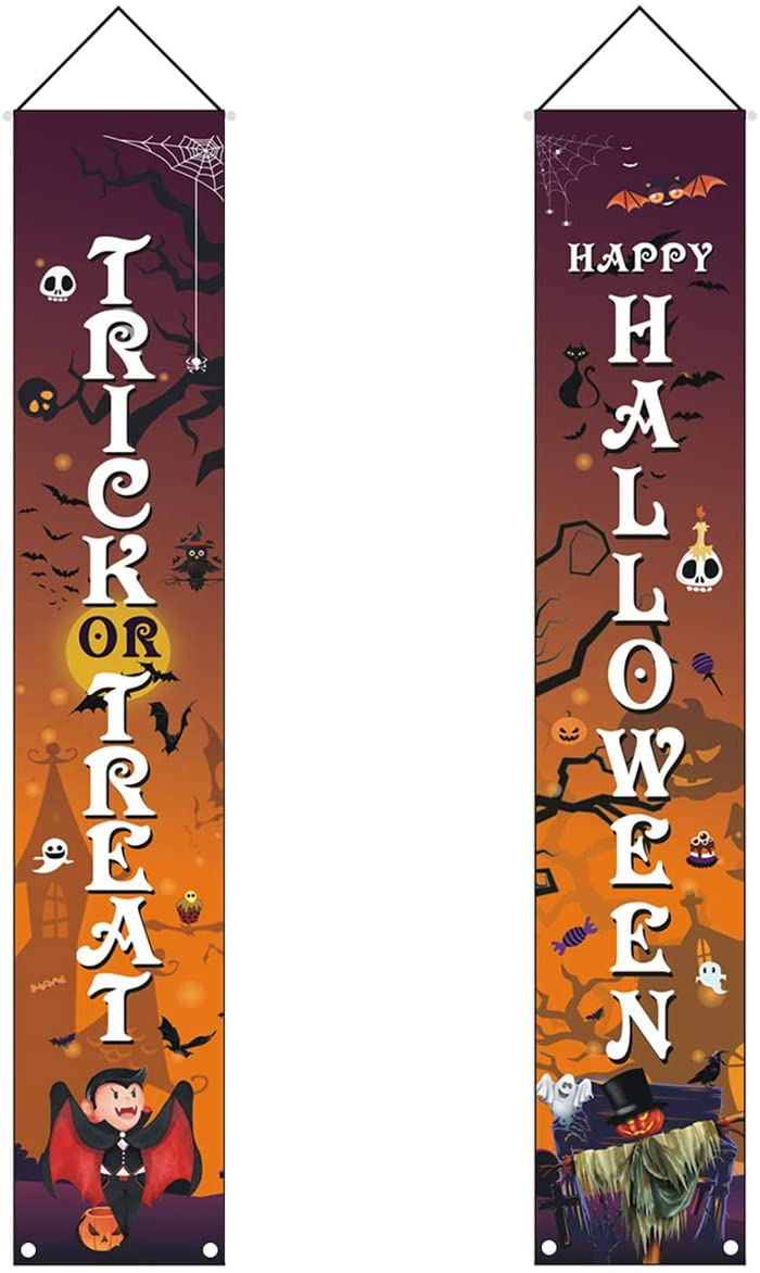 SunshineFace Halloween Banners,Outdoor Indoor Trick or Treat Halloween Decoration Hanging Porch Sign for Home Holiday Party Decor