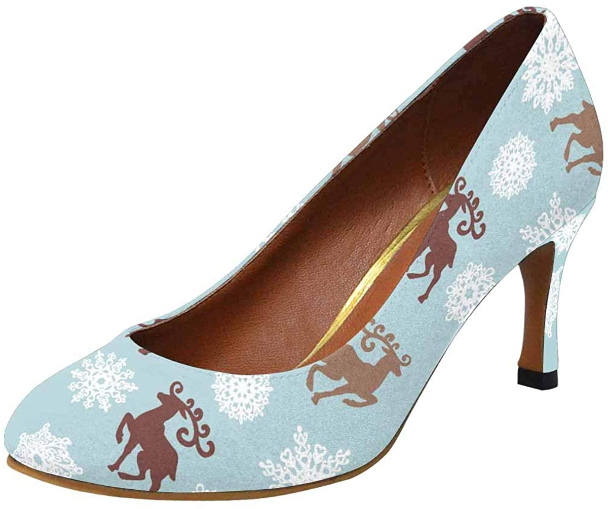 INTERESTPRINT Christmas Gold Elements Womens High Heels Pull On Fashion Dress Pump