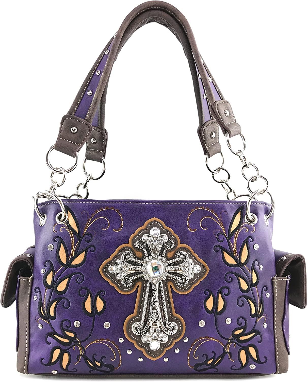 Justin West Western Floral Rhinestone Side Pocket Cross Slim Handle Conceal Carry Handbag Purse Tote and Strap Wallet