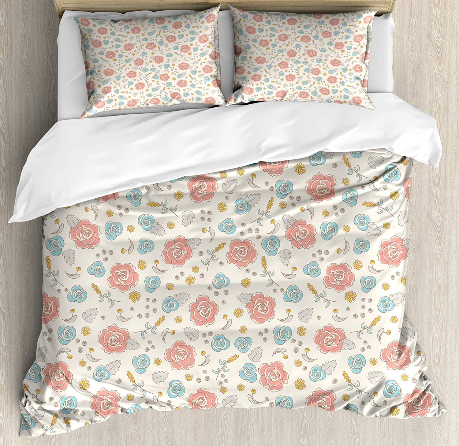 Lunarable Vintage Duvet Cover Set, Pink and Blue Roses with Wildflowers Spring Herbs and Flowers Botanical Pattern, Decorative 3 Piece Bedding Set with 2 Pillow Shams, Queen Size, Multicolor