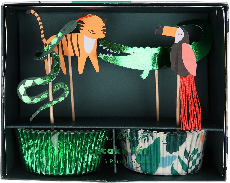 Meri Meri Go Wild Cupcake Kit - Pack of 24 Cases in 2 Designs - Tassel & Green Foil Detail