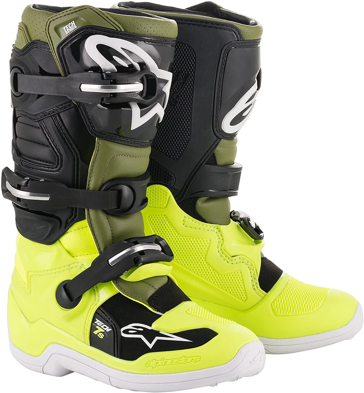 Alpinestars Youth Tech 7S Motocross Boot, Yellow/Military Green/Black, 7