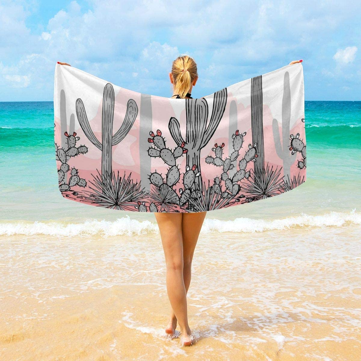 Befectar Pink Cactus Large Decorative Hand Towels Multipurpose for Bathroom Hotel Gym and Spa (32x52 Inches 40x70 Inches)