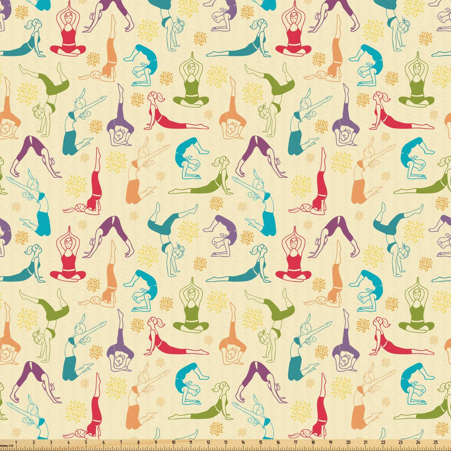 Ambesonne Yoga Fabric by The Yard, Workout Themed Fitness Girls Pattern Abstract Meditation Postures Arrangement Asian, Microfiber Fabric for Arts and Crafts Textiles & Decor, 5 Yards, Multicolor