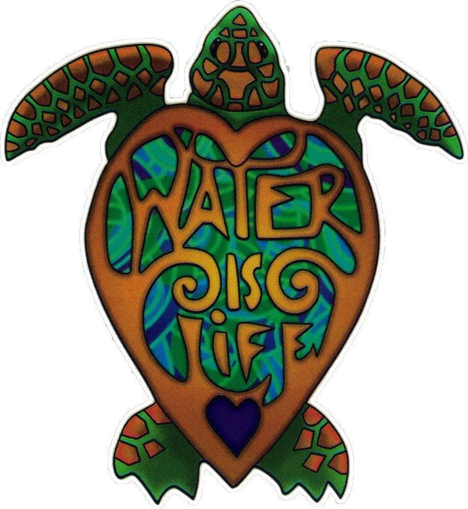 Water Is Life Turtle - Window Sticker / Decal (4.25