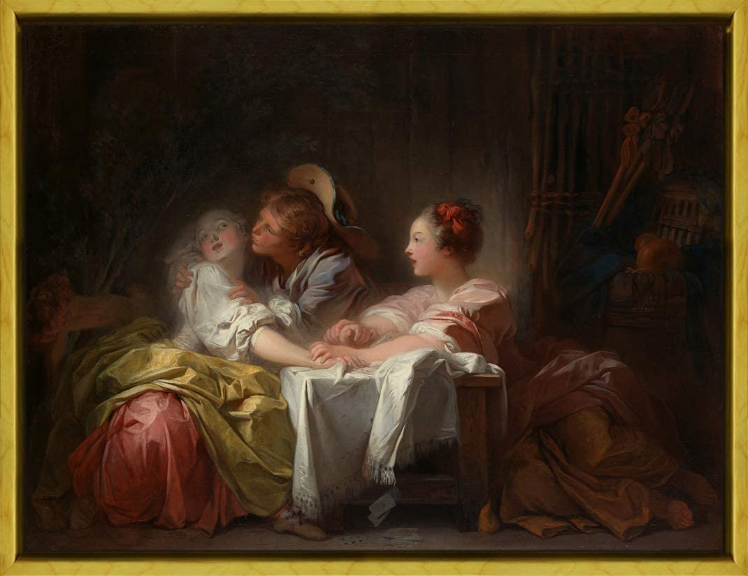 Berkin Arts Framed Jean Honore Fragonard Giclee Canvas Print Paintings Poster Reproduction(The Stolen Kiss)
