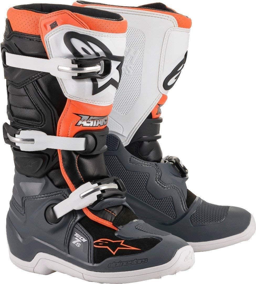 Alpinestars Youth Tech 7S Motocross Boot, Black/Gray/White/Orange, 3