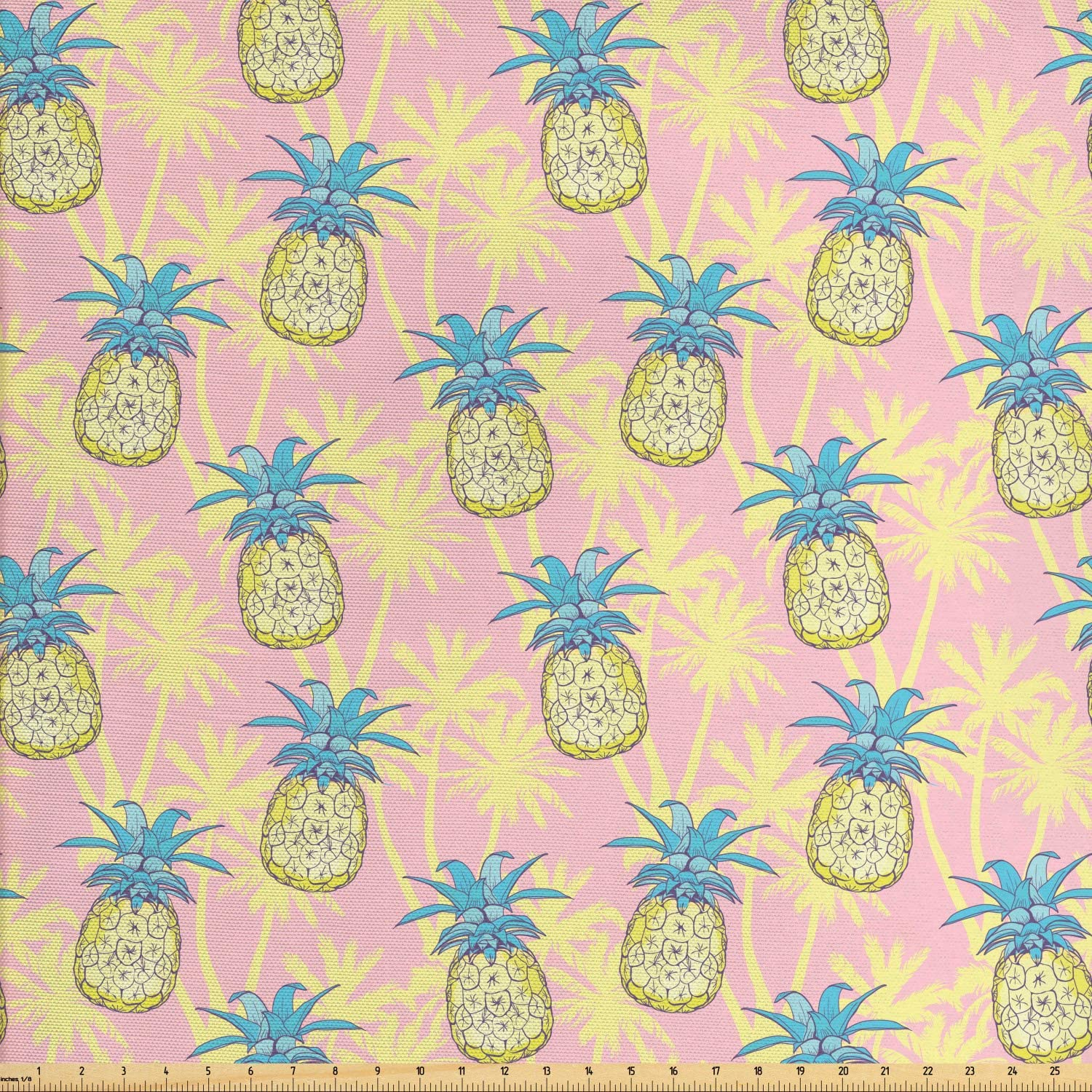 Ambesonne Hawaiian Fabric by The Yard, Pastel Rhythmic Pineapples Pattern on Palm Tree Silhouette Background, Decorative Fabric for Upholstery and Home Accents, 1 Yard, Rose and Pale Yellow