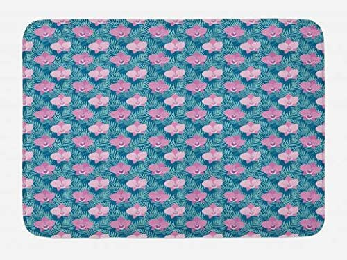 Lunarable Orchid Bath Mat, Pink Blossoms of Orchid Flowers Among Tropical Palm Leaves, Plush Bathroom Decor Mat with Non Slip Backing, 29.5