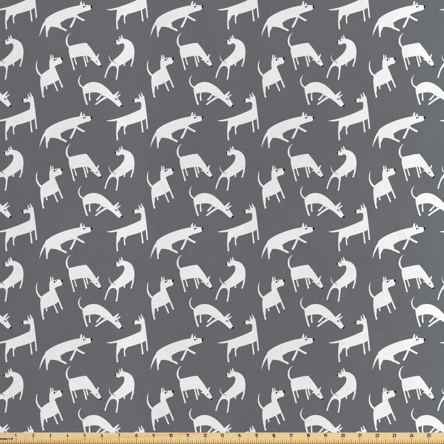 Ambesonne Dog Fabric by The Yard, English Bull Terriers Posing and Jumping Pet Characters Minimalist Flat Design, Decorative Satin Fabric for Home Textiles and Crafts, Grey and White