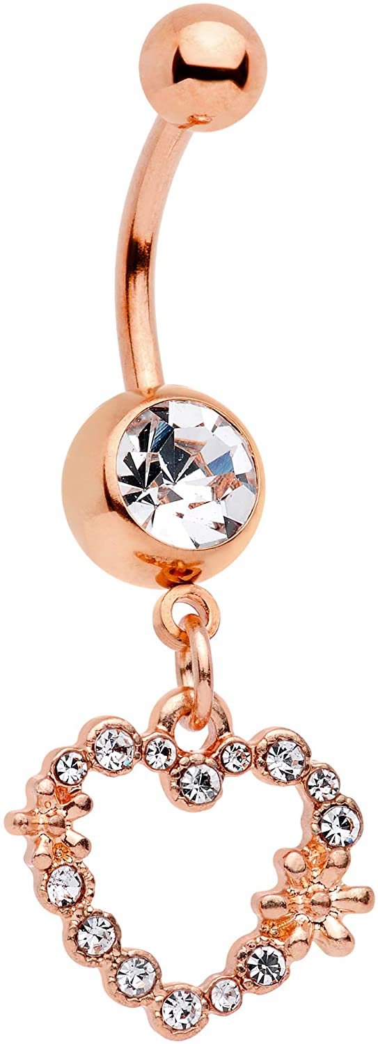 Body Candy Rose Gold Tone Plated Steel Navel Ring Piercing Clear Accent Heart Dangle Belly Button Ring 11mm