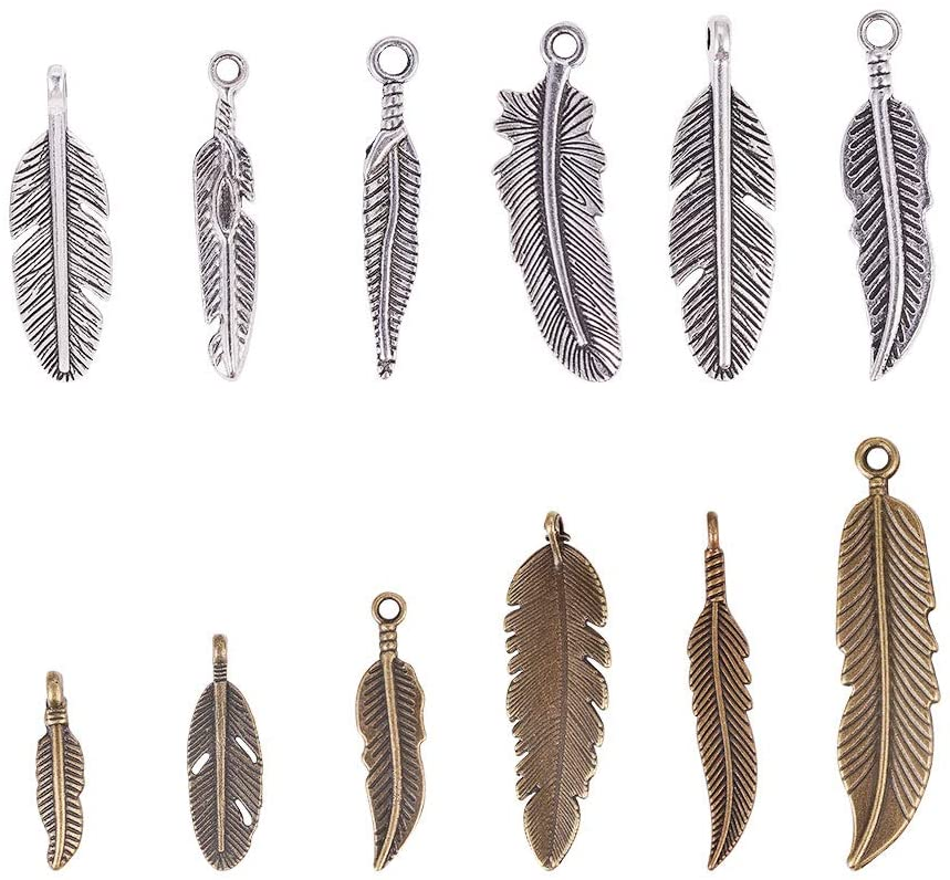 PH PandaHall 72pcs 12 Style Feather Pendants Charms Beads for DIY Dreamcatcher Necklace Bracelet Jewelry Making Antique Silver Bronze