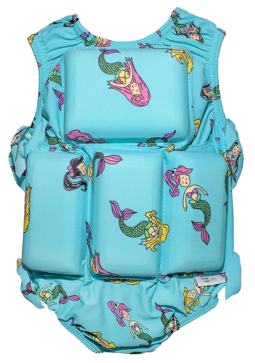 Girls Floating Bathing Suit Flotation Swimsuit X-Small, Small, Medium, Large Avaliable in Palm Tree,Sunglasses & Tie Dye Patterns (Small, Mermaid)