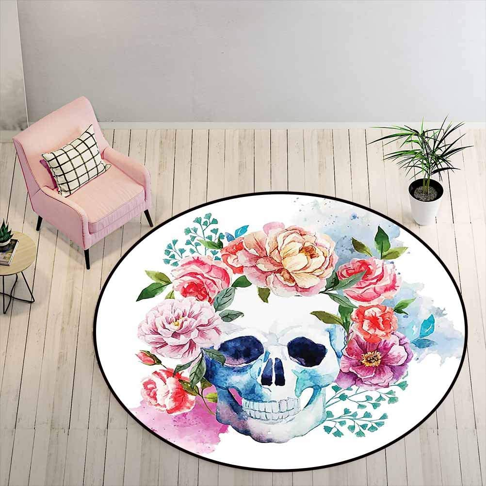Bathroom Rugs 3 ft Round - Skull Cute Rugs Funny Skull with Colorful Floral Head Victorian Style Dead Skeleton Graphic Art Print, Multi