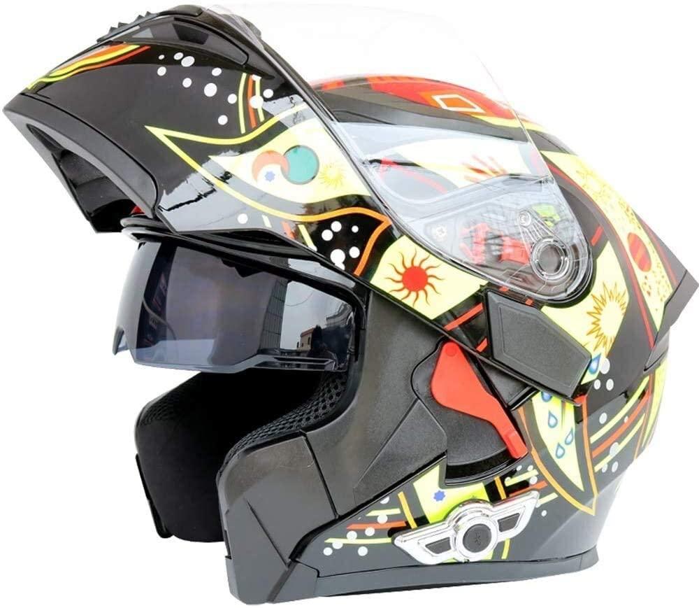 DEWUFAFA Motorcycle Helmet Adult Off-Road Helmet Motorcycle Wireless Transmission flip Type Modular Full face Helmet DOT for Mobile Phone Connection/Riding intercom/Helmet Helmet (Size : Large)