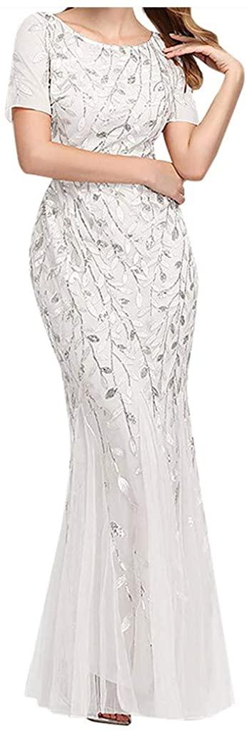 iLOOSKR Women Charming Beaded Mesh Party Mermaid Dress Short Sleeve O-Neck Slim Evening Prom Dress