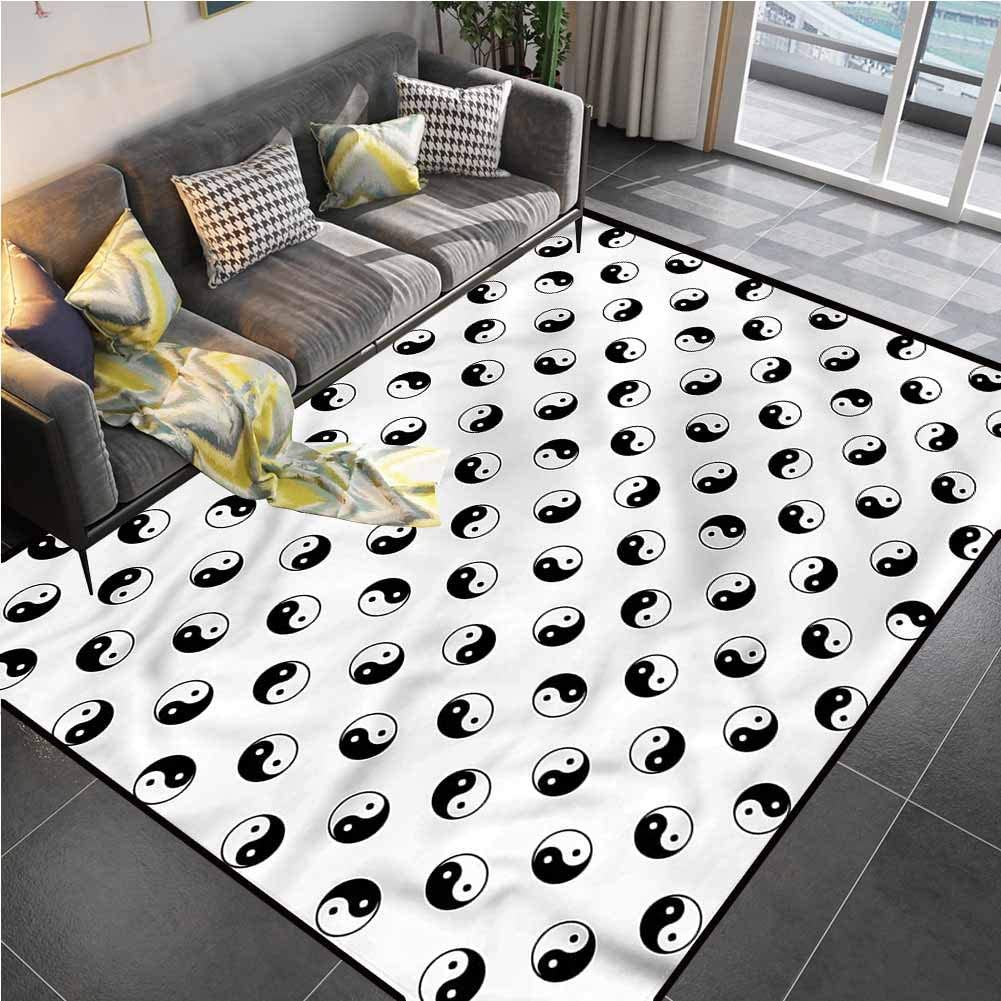 Area Rug Print Large Rug Mat Yin Yang,Oneness Harmony Philosophy Rugs for Living Room for Living Dining Dorm Playing Room Bedroom 6'x8'