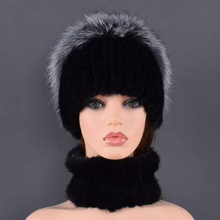 OG-Renstky Women Fur Hat Scarf Real Rex Mink Fur Comfortable Warm Fur Fox Fur Caps Scarves
