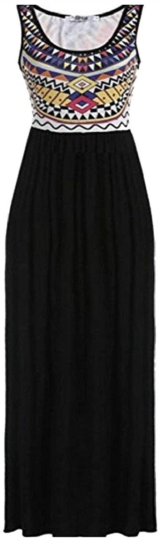 Hadudu Women's Summer Print High Waist Tank Long Maxi Dresses Party Casual Dress