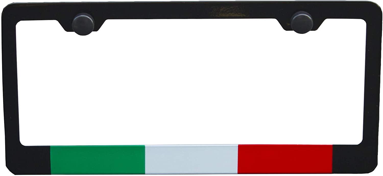 Italy Italian Flag License Plate Frame, Black High Grade 304 Stainless Steel