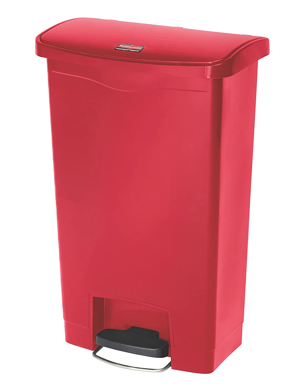 Rubbermaid Commercial Products - 1883566 Slim Jim Step-On Plastic Trash/Garbage Cans, 13 Gallon, Plastic Front Step Step-On, Red